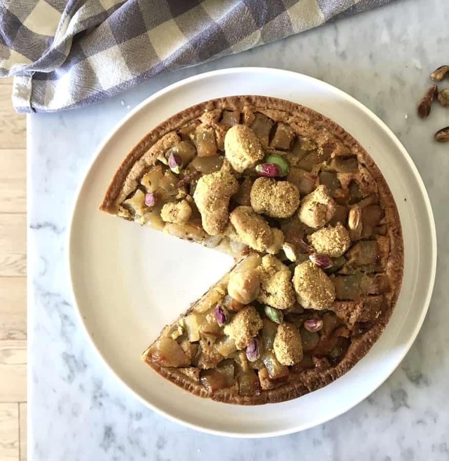 Crostata  pistacchi,  pere  e cioccolato